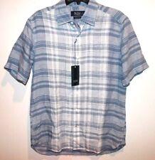 Nat Nast Mens Blue Plaid 100% Linen S/S Button-Front Shirt NWT $115 Size S