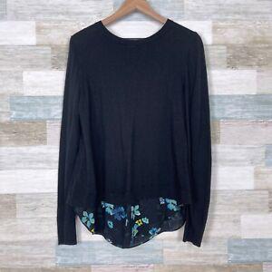 LOFT Floral Ruffle Back Mixed Media Sweater Black Blue Wool Blend Womens Medium