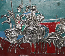 VINTAGE HAND MADE METAL WALL HANGING ABSTRACT ART WORK PLAQUE HORSE RIDERS