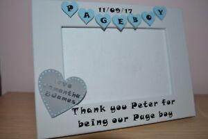 Personalised handmade PAGE BOY - wedding Photo Frame Gift 6X4