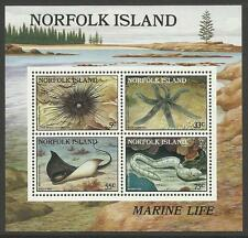 NORFOLK IS 1986 REEF CREATURES Marine Life Souvenir Sheet MNH