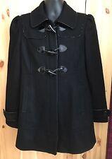 Guess Women's Zip Up Coat Size Large Black Wool Blend Jacket