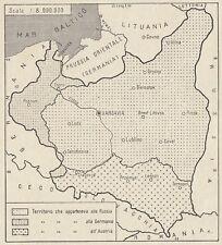 C3449 La Polonia - Mappa d'epoca - 1935 vintage map