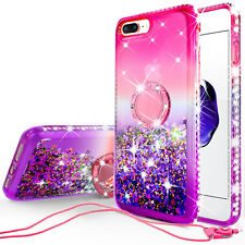 iPhone 8 Plus, iPhone 7 Plus Liquid Glitter Phone Case Girls with Kickstand Pink