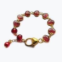 Handmade Gold Plated Red Hearts Charm Resin Bracelet Women's Gift For Her