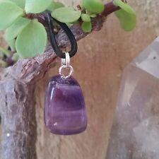 AMETHYST Crystal Quartz Gemstone PROTECTION CHARM Pendant Tumbled Stone Necklace