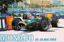 VINTAGE 1968 MONACO GRAND PRIX RACING A4 POSTER PRINT