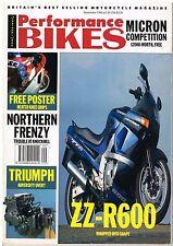 Performance Bikes Sep 1990 Kawasaki ZZ-R250 KR-1S Yamaha FZR400 Hinckley Triumph