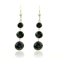 14K Yellow Gold Dangle Earrings With Graduated Fancy Cut Round Black Onyx