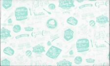 Retro Bake Baking Words Turquoise 100% Cotton Fabric by Makower FQ
