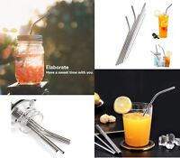 new brand Set Stainless Steel Cleaning Brush & Reusable Drinking Metal Straws