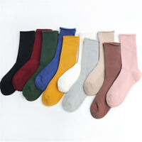Solid Plain Warm Soft Cotton Stocking Breathable Long Women Girl Crew Knee Socks