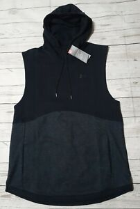 Men's Under Armour Black Gray Sleeveless Pullover Hoodie Size XL