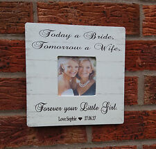 shabby vintage chic today a bride groom parents  gift photo frame personalised