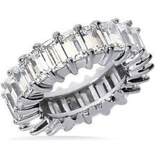 5 carat Emerald Cut Diamond Eternity wedding Band Platinum Ring F Vs1 size 6.5
