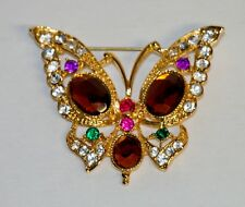 Pin~Colorful Stones~Gold Tone Metal Amazing Rhinestone Butterfly Brooch