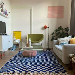 Moroccan Berber Blue and white Checkered area rug!