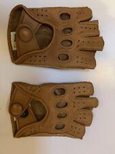 Riparo Mens Leather Reverse Stitched  Half-Finger Gloves Cognac Size 6
