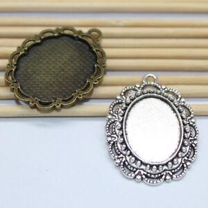 10/30pcs Oval Base Setting Trays, Necklace Pendant, Fit 13x18mm Oval Cabochon