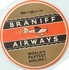 World's Fastest Airline ~BRANIFF AIRWAYS~ Historic / First Airline Label, 1930