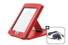 Lederhülle für Amazon Kindle TOUCH + 3G, mit Stand, rot + Micro USB Stecker