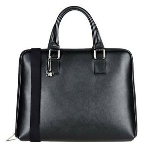 Laura Di Maggio Italian Made Black Leather Laptop Bag Business Briefcase Handbag