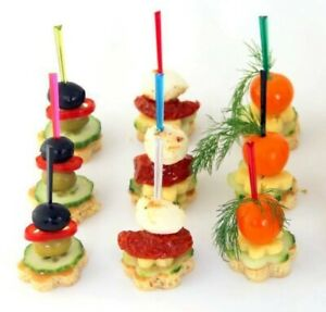100pcs Crystal Pick Skewer 9cm Plastic Food Canape Presentation Stylish BBQ