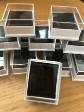 WHOLESALE 25 X CLEAR JEWELLERY BOXES FOR BODY JEWELLERY, CHARMS, BLACK INSERTS