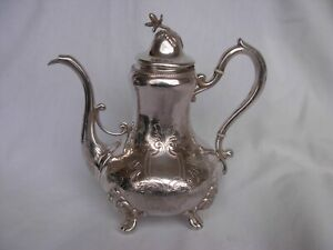 ANTIQUE FRENCH STERLING SILVER TEA POT,LOUIS XV STYLE,XIX CENTURY