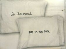 2 new pillow cases~In the MOOD~Not in the MOOD~ white black 500 TC Sexy Novelty