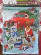 "Holiday Dogs/ Old Red Truck Garden Flag 12.5"" x 18"" Erin's Garden Briarwood Lane"