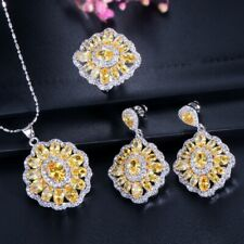 Square Full Royal Citrine Jewelry Sets White Gold Plated Necklaces Earrings Ring