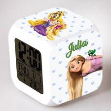 Reveil cube led lumière nuit alarm clock princesse personnalisé prénom réf 22