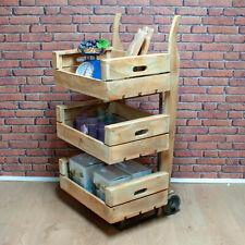 Reclaimed Wood Sack Barrow 3 Crate Display Trolley Shop Retail Cafe (BK7X)