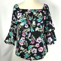 No Comment Women Blouse Off Shoulder Ruffle Pom Pom Trim Bell Sleeve Size 1X NEW