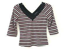 IZ BYER CAL Women's Multi-Color Striped 3/4 Sleeve Crop Top Blouse Size XXS XS S