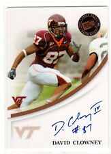 1X DAVID CLOWNEY 2007 Press Pass Signings AUTOGRAPH Virginia Tech RC Rookie