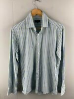 Oxford Mens Blue Green Striped Slim Fit Long Sleeve Button Up Shirt Size Medium