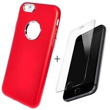 Coque Etui Silicone Rouge vitre protection verre trempé pour Apple iPhone 7 Plus