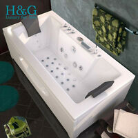 1700 Whirlpool Corner Bath Shower Spa Jacuzzi Straight 2 person Doubl Bathtub A1