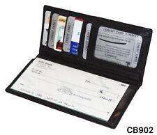Black Genuine Leather Checkbook Cover Organizer Clutch Wallet NR