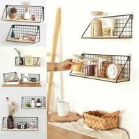 Vintage Wall Storage Shelf Unit Retro Wood Industrial Style Wire Hanging Rack