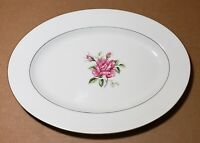 Ctsi Brittany Pink Rose Fine Bone China Oval Plate Silver Trims Made In Japan