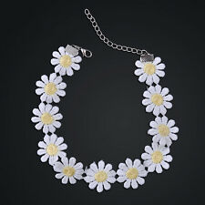 Girl Sweet White Lolita Lace Choker Daisy Flower Yellow Collar Necklace Jewelry