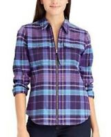 NEW Chaps Womens Brushed Cotton Plaid Zip Tab Front Top Shirt PL S 4 M 8 $69 NWT