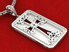 Cross Pendant  .925 Sterling Silver  Dog Tag  Fancy Cute  Handmade  Christian