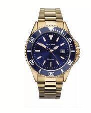 SECONDA Men's Watch 1516 Gold Plated Blue Face With Blue Dial in OFFER PRICE