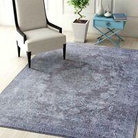 Floor Rug Grey Silver Flowers Distressed Persian Printed Carpet 120x160cm