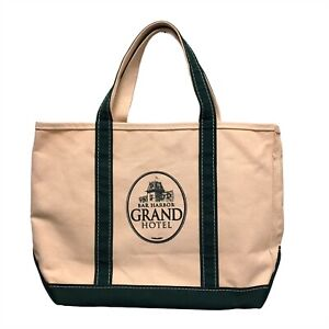 """L.L. Bean LL Bean Boat And Tote Canvas Bag Made In USA Green & White 18""""x12""""x6"""""""