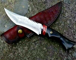 Handmade Japanese Clip Point Knife Hunting Combat Tactical Forged Damascus Steel